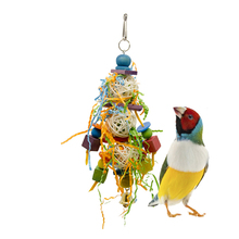 Pet Bird Toy Hanging Acrylic Accessories Birds Parrot Brushed Swing Chew Toys Colorful With Bells Fun cages accessories