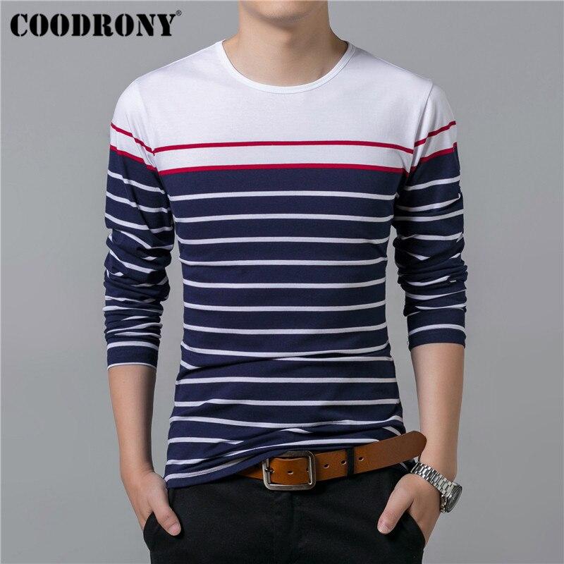 COODRONY T Shirt Men Streetwear Fashion Striped O-Neck Tshirt Men Clothes Autumn Winter Cotton T-Shirt Men Tee Shirt Homme 95026