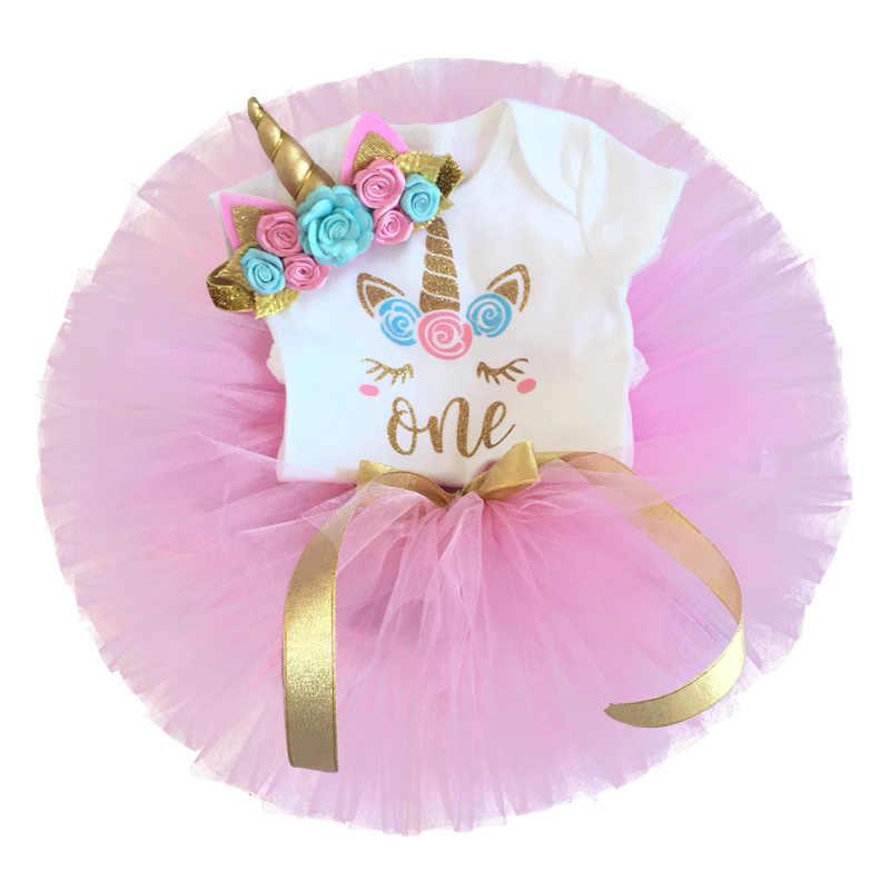 04423b8d70f04 1 Year Birthday Dress For Baby Girl Party Cake Smash Outfits Princes Dress  Unicorn Headband Baby