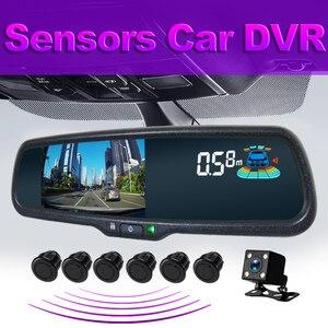 GreenYi Car DVR Rearview Mirror Monitor Dual Lens with Parking Sensor 1080P Dash Cam Camera Auto Driving Recorder G-sensor