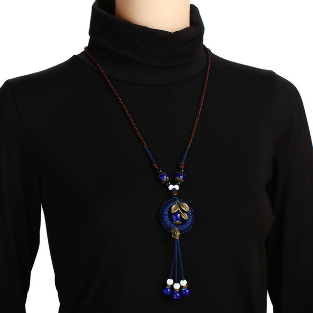 Shineland, New Bohemian Jewelry For Women. Vintage Ethnic Long Rope Chain Necklace with Flower Leaf Beads Pendant.