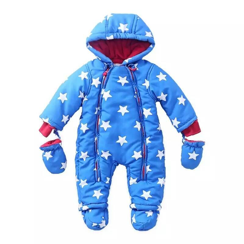 0-24M Baby Rompers 2016 Russia Winter Kids Boys Clothing Wind Fabrics + Velvet Infant Costume Warm Jumpsuit Free Shipping