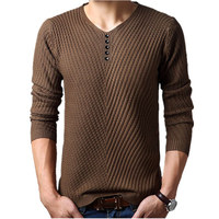 M 4XL Winter Henley Neck Sweater Men Cashmere Pullover Christmas Sweater Mens Knitted Sweaters Pull Homme