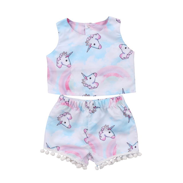 65ec35295 Baby Girls T shirt Crop Top Vest Sleeveless Shorts Cute Animals ...