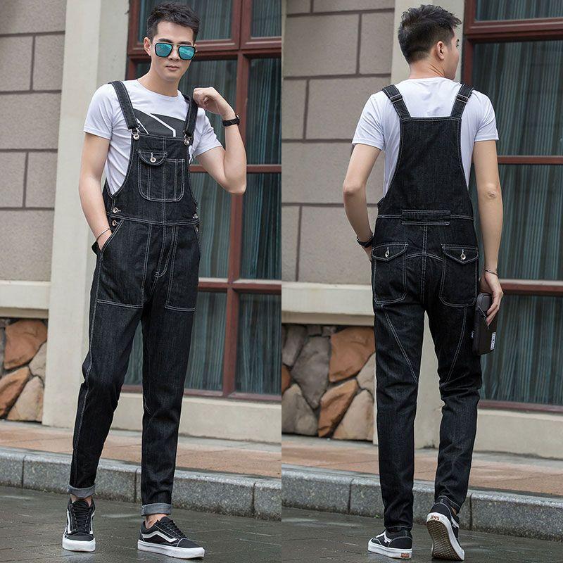 2017 Plus Size 5XL loose Black Denim Jumpsuit Men Autumn Spring Baggy Overalls   Jeans   Male Suspender Bib cargo Pants 062908