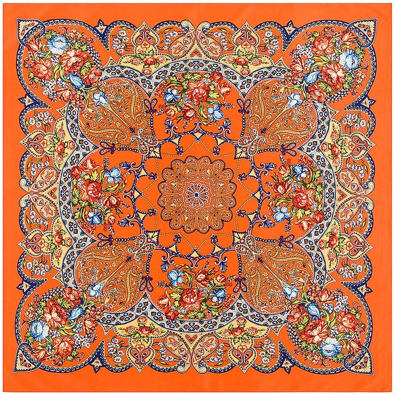 POBING 100% Silk Scarf Women Square Scarves Wraps 2017 Bohemia Geometric Flowers Bandana Female Foulard Silk Hijab Lady Bufandas