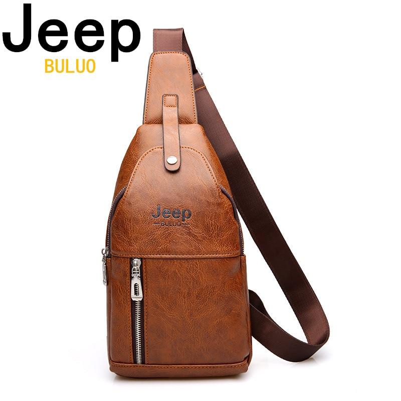 design senza tempo 927af cce9d JEEP BULUO di Modo uomo di Capacità Sacchetto di Petto Casual Borsa con  tracolla Per Gli Uomini di Alta Qualità di Cuoio Sling Bag Per Breve  Viaggio ...