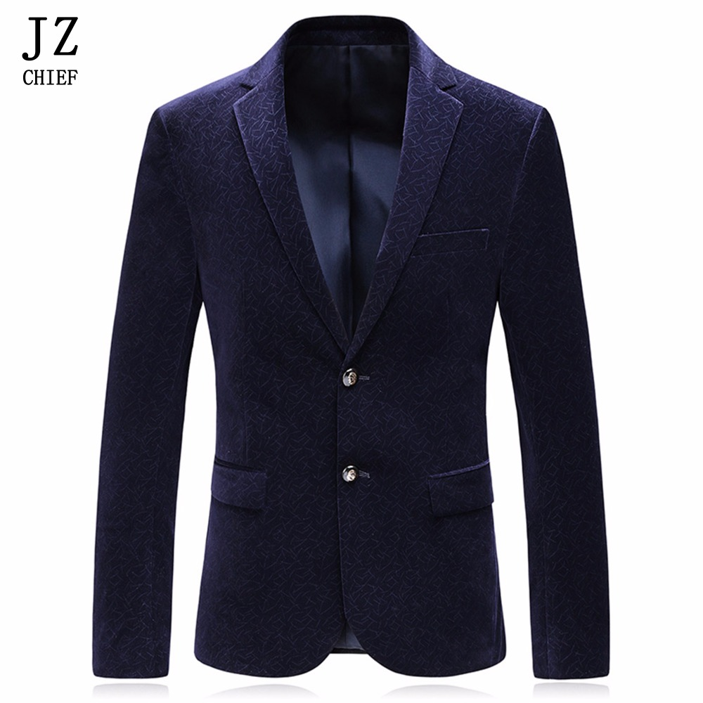 JZ CHIEF Men Casual Blazer Striped Jacket Male Velvet Blazer Masculino Red Coat Men Blue Suit Jackets Buiness Slim Fit Blazer