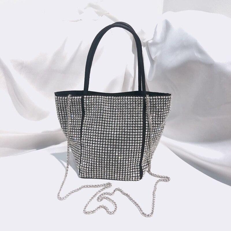 Fashion Handbags fashion bags for Women party Evening Bag  Diamond Sequins Skewed Bucket Handbag Beading Chain package Female