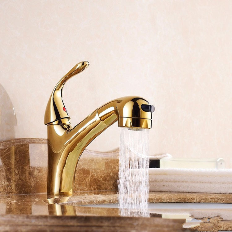 2016 Time-limited Torneira Banheiro Special Offer European Copper Gold Cold Tropical Draw Pull Type Double Basin Wash Faucet semicircle potentiometer knob handle high cap width 19mm 21mm