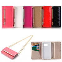 For Samsung S8 Case Metal Long Chain Leather Flip Wallet Magnetic Card Slot Phone Case For