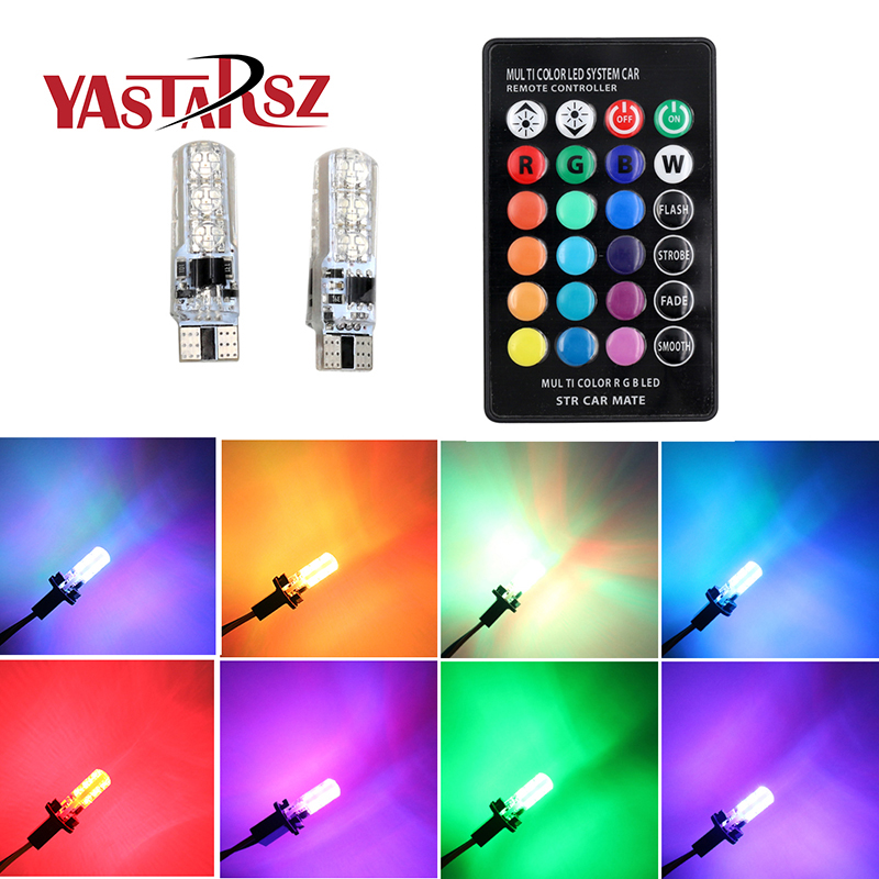 1 Set 5050 SMD RGB LED T10 194 168 W5W Car Wedge Light 16 Colors LED Demo Lamp Bulb With Remote Controller Strobe Free Shipping 10pcs t10 led bulb 5 smd 5050 led t10 w5w 194 168 car light source lamp t10 5 led dash indicator signal side wedge tail light