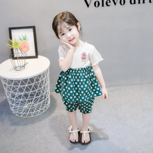 2 Pcs/set Baby Girls Cute Retro Fashion Korean Summer Suit Wave Point Short Sleeve Shirt + Pants Set 2019