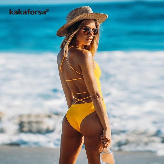 c3877fe52544 Kakaforsa New Sexy Yellow Backless One Piece Swimsuit Women Padded Swimwear  Bandage Solid Bikini Bathing Suit