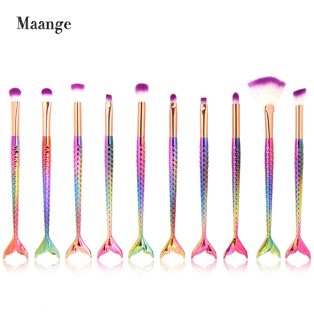 10PCS Mermaid Makeup Brushes Set Foundation Blending Powder Eyeshadow Contour Concealer Blush Cosmetic Make Up Kits black coffee leeds