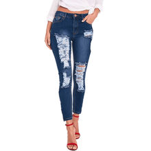 d42b7dedfd Women Summer Pants Casual Trousers For Ladies Blue Ripped Mid Waist  Drawstring Skinny Denim Calf Length Jeans Fashion Slim Tight