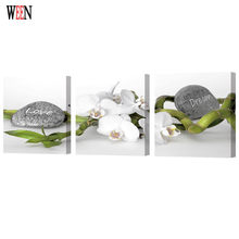 WEEN 3Pcs Flower Stone Wall Canvas Arts With Framed For Living Room Modern Pictures Module Paintings Directly Handed Poster 2017(China)