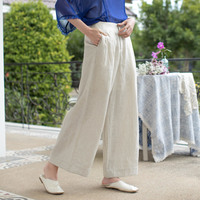 Life In The Left Summer 100% Linen Loose Trousers Women Wide Leg Pants High Waist Vintage Womens Simple Casual Wide Leg Pants