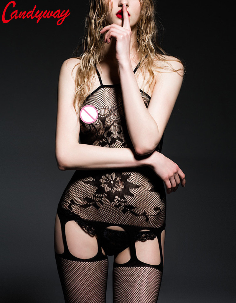 Sexy lingerie sexy costumes sex products black Jacquard underwear intimates fishnet body stockings teddy netting women GA051