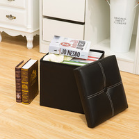 Stitching leather Storage stool Foldable Footrest Storage Box customizable 24L capacity Home and store Storage of debris