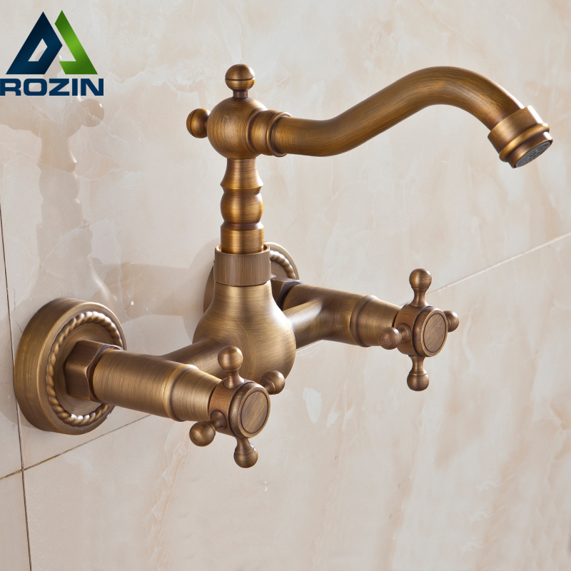 Luxury Bathroom Faucet Antique Brass Kitchen Mixer Tap Faucet Wall Mounted Dual Handle Hot and Cold