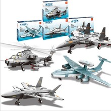 1Pc Boxed Variety of Ten Thousand Lattice Educational Toys Assembled Building Blocks Armed Helicopter J 15 Fighter JX001