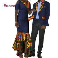 2018 любителей сладкого африканских пару Одежда подарок День Святого Валентина с длинным рукавом Для женщин Макси платья и мужская рубашка к