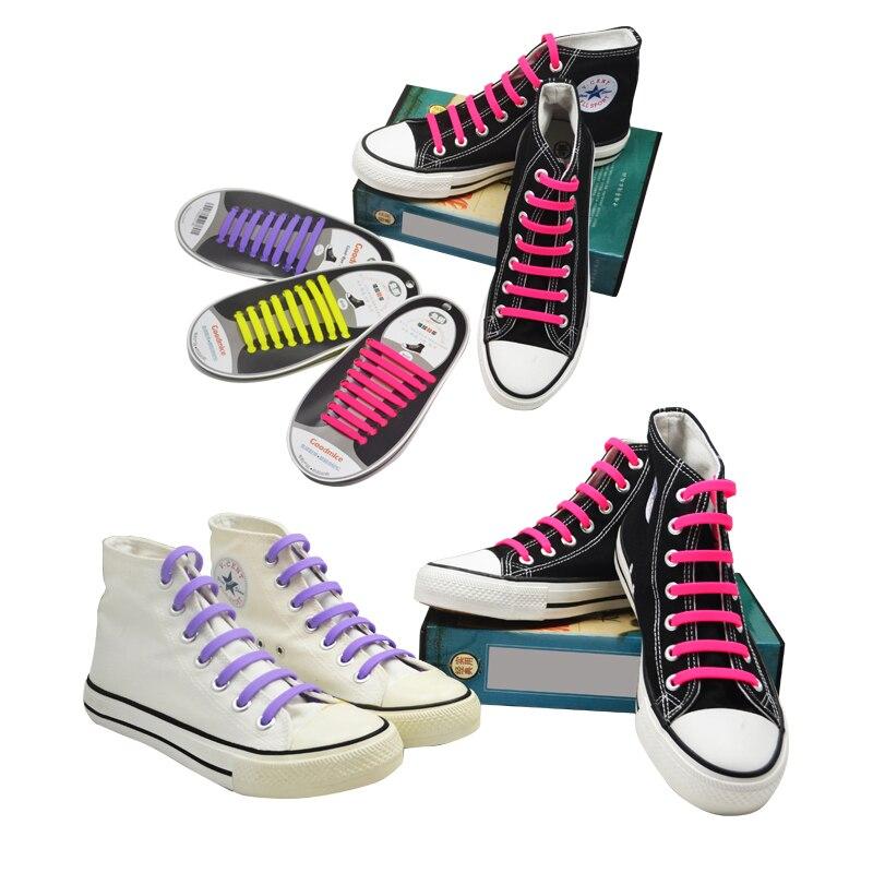 1Pair Fashionable Creative Silicone No-Tie Elastic Shoelaces Trainers Shoe Laces