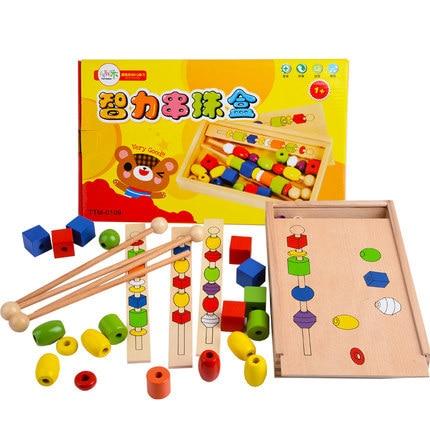 Montessori teaching educational toys senses three body six color big wooden bead four color bead rods the big six