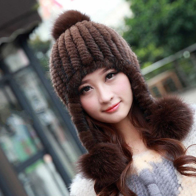 100% Real Mink Fur Natural Mink Knitted Fur Hat Winter Women Russian Warm Ear Casual Beanies Hat Hand Made Solid Cap  Hats H#43