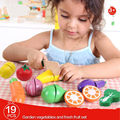 19pcs/Set Kitchen Pretend Play Toy Funny Wooden Food Fruit Vegetable Cutting Toys For Children Kids Educational Toys Gifts