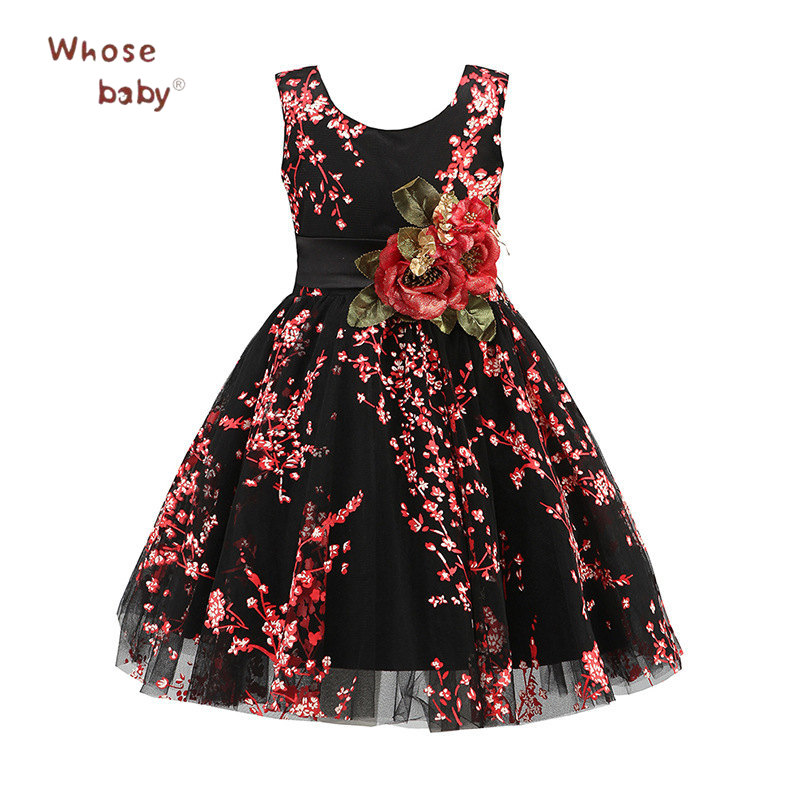 2018 New Year Girls Dresses Floral Pretty Party Kids Dresses For Girls Infant Bow Christmas Children Costume Toddler Vestido girls party dresses 2018 new kids