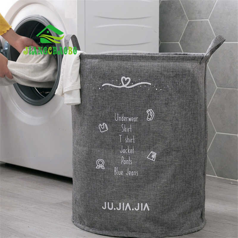 Nordic Collapsible Hamper Waterproof Laundry Basket Cotton And Linen Bathroom Dirty Clothes Storage Basket Dirty Clothes