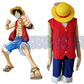 Anime de One Piece Monkey D. Luffy 1th Cosplay Disfraces de Halloween para hombre top Rojo azul pantalones cortos y sombrero 3 unids ropa de fiesta cosplay