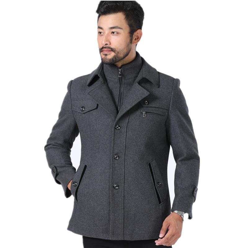 Overcoat Thickened Autumn XL Woollen Casual Winter Fashions XXXL Size Zipper Double-Zipper-Collar