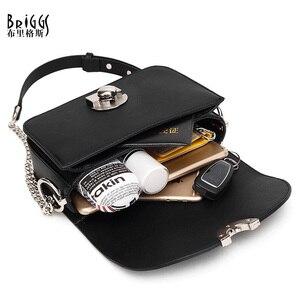 Image 4 - BRIGGS bandolera de piel sintética con cadenas para mujer, Bolso pequeño con solapa, a la moda
