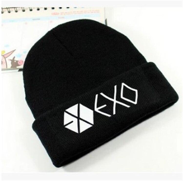 Kpop exo women with hats caps winter hat unisex snow Flexible black caps Hip Hop Cap Skullies k-pop EXO daily hot мужская футболка kpop exo baekhyun chanyeol t camiseta