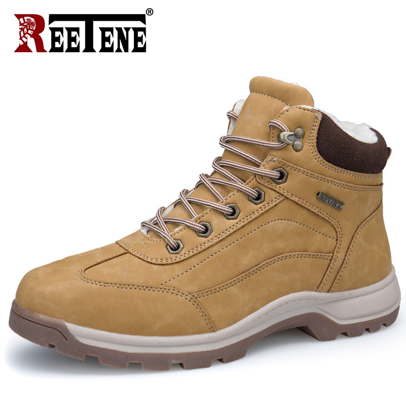 REETENE New Men Boots Winter With Fur 2018 Warm Snow Boots Men Winter Boots Work Shoes Men Footwear Fashion Rubber Ankle Shoes цена