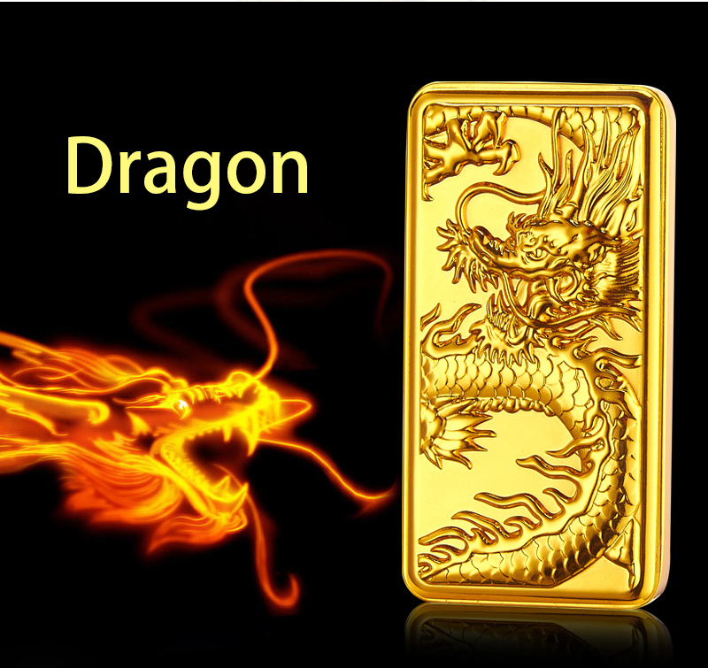 Tungsten Turbo USB Lighter For Cigarette Smoking Dragon Tiger Pattern Electronic USB Charge Free Laser Logo