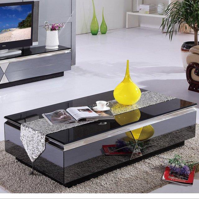Modern Minimalist Living Room Coffee Table Glass Coffee Table - Grey wood and glass coffee table