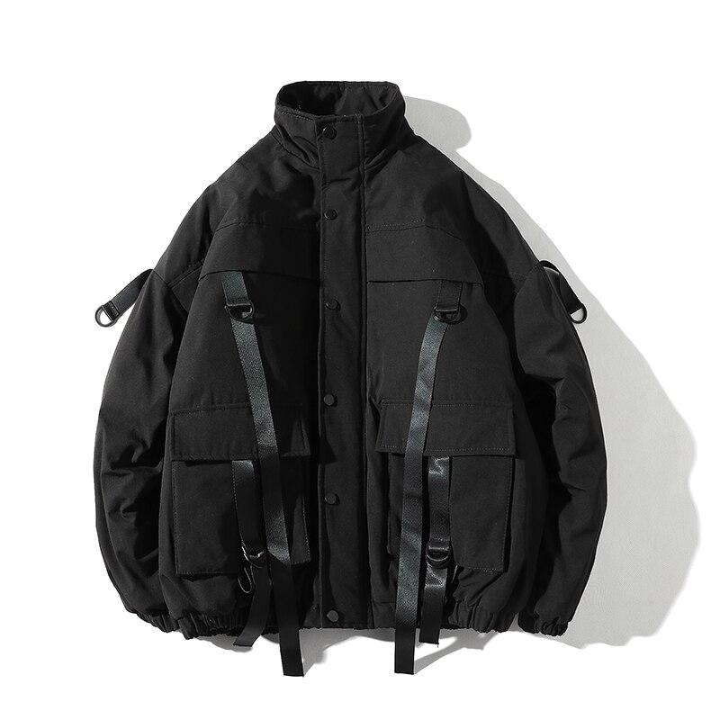 2019 мужская зимняя куртка с лентами и карманами, уличная парка в стиле хип-хоп, Повседневная стеганая Мужская куртка, Мужская одежда, ABZ522