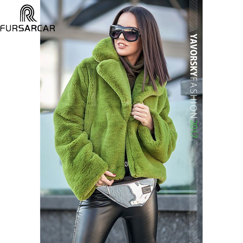 FURSARCAR Colorful 2019 New Fashion Winter Natural Rex Rabbit Fur Jacket Women Thick Warm Casual Down Coat Luxury Slim Fur Coats