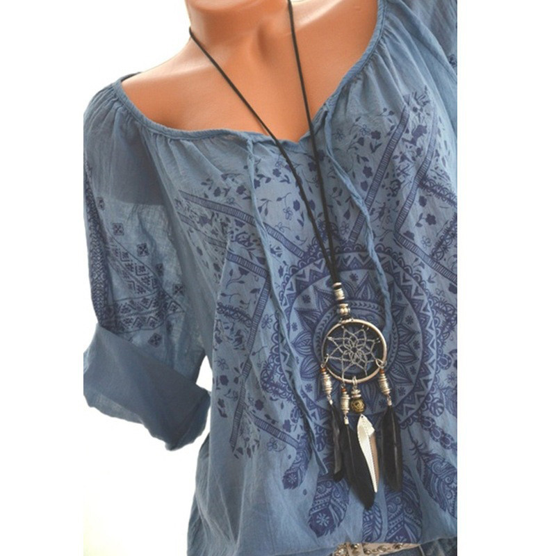 Summer Floral Print Women Blouse Summer Top Plus Size Long Sleeve Shirt Harajuku Printed Blusas Feminina Tops And Blouses#GHC 1