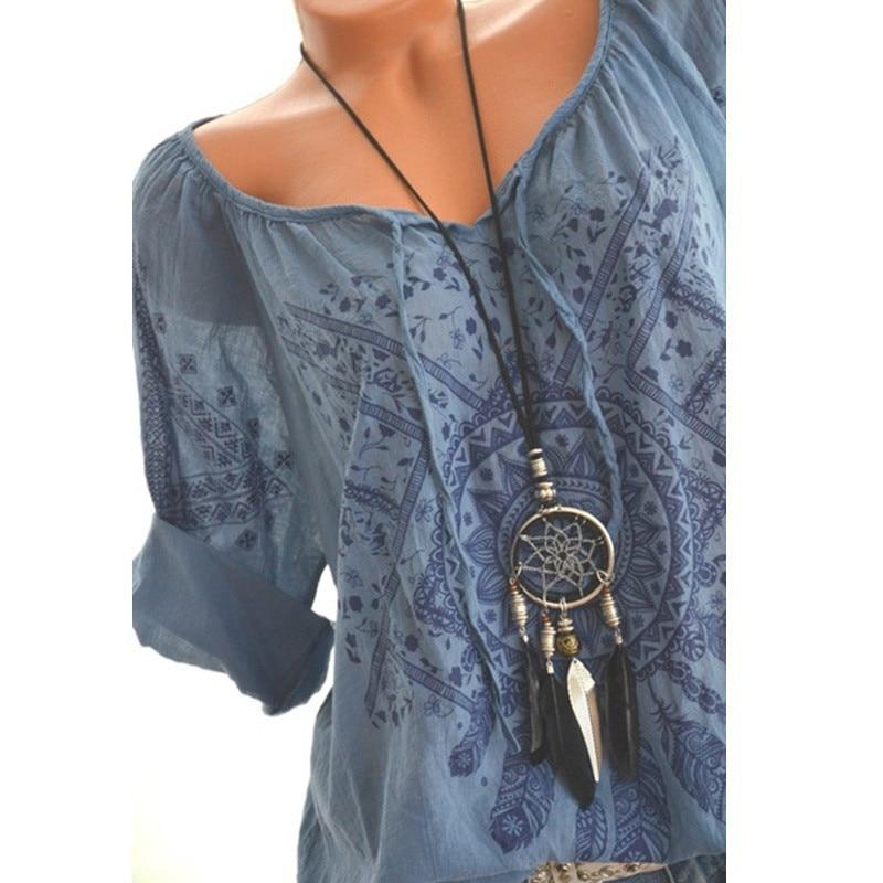 Summer Floral Print Women Blouse Summer Top Plus Size Long Sleeve Shirt Harajuku Printed Blusas Feminina Tops And Blouses#GHC 1