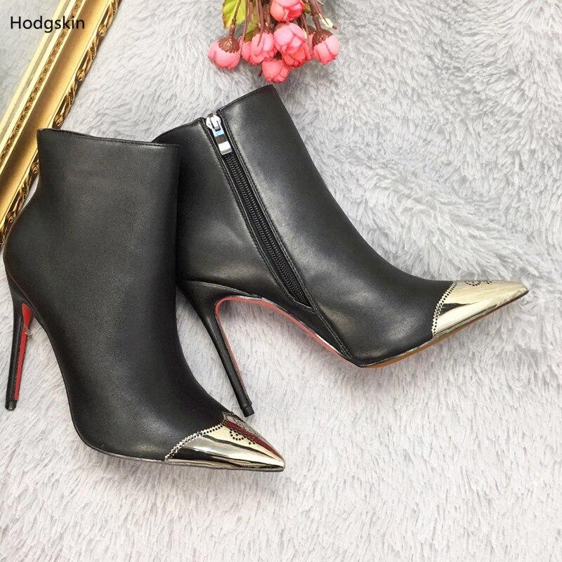 Cuir Dîner Show Cheville Arrivée Talons Noir Femmes Automne Métallique Bottes Haute En Mince Nouvelle Pointu As Femme Chaussure Hiver Bout w7qqE1S