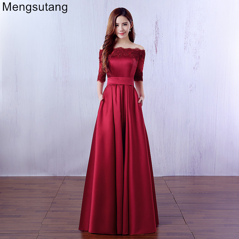Robe De Soiree 2018 Wine Red Lace Embroidery Luxury Satin Half Sleeved Long Evening Dress Elegant Banquet Prom Dress