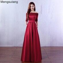Robe De Soiree 2019 Wein Rot Spitze Stickerei Luxus Satin Halb Sleeved Lange Abendkleid Elegante Bankett Prom Kleid
