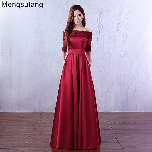 Robe De Soiree 2019 şarap kırmızı dantel nakış lüks saten yarım kollu uzun akşam elbise zarif ziyafet balo elbise