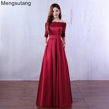 فستان سهرة فاخر من Robe De Soiree 2019 مطرز بالدانتيل باللون الأحمر الخمري نصف كم طويل من الساتان ، فستان أنيق للحفلات الراقصة