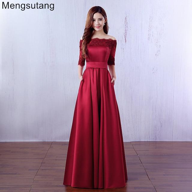 Robe De Soiree 2019 יין אדום תחרה רקמת יוקרה סאטן חצי שרוולים ארוך שמלת ערב משתה אלגנטי שמלה לנשף